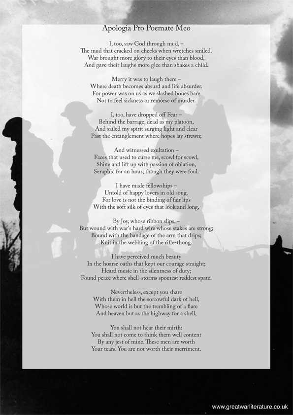 Apologia Pro Poemate Meo by Wilfred Owen poster