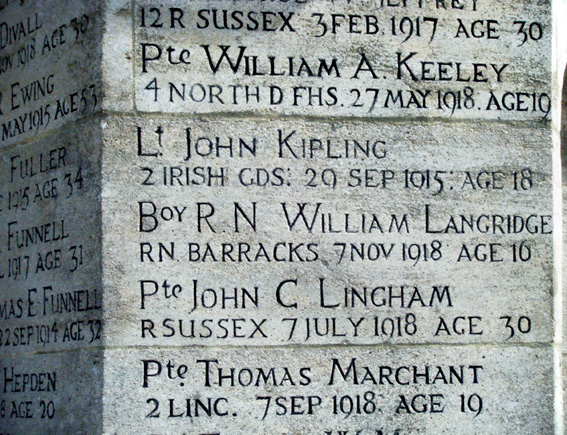 War Memorial, Burwash and Lt John Kipling's name